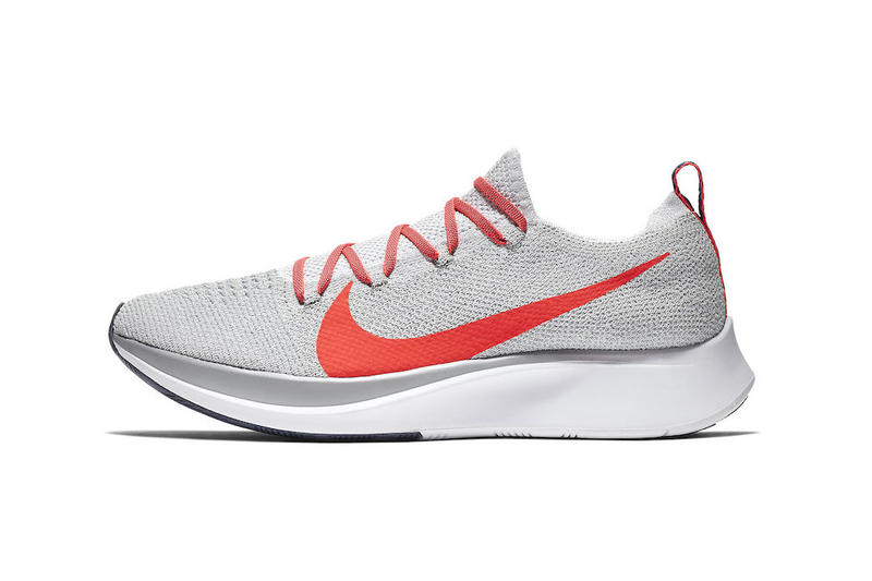 26dc83839e97a Nike Zoom Fly Pure Platinum Bright Crimson Flyknit sneaker colorway release  date info