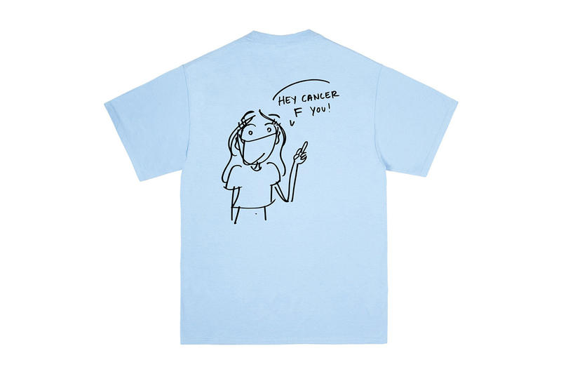 noah Arianna Margulis breast cancer awareness month october 15 2018 drop release date info tee shirt white light blue fuck off graphic print
