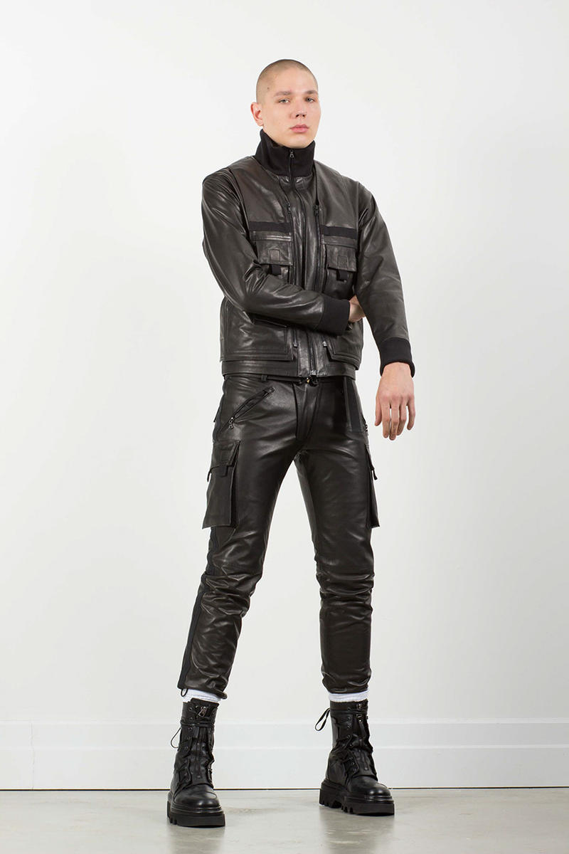 NOMENKLATURA STUDIO alexandre pokhov collection lookbook fall winter 2018 menswer leather pants vest bag hoodie jacket tee shirt nubain japan buy sell release info design
