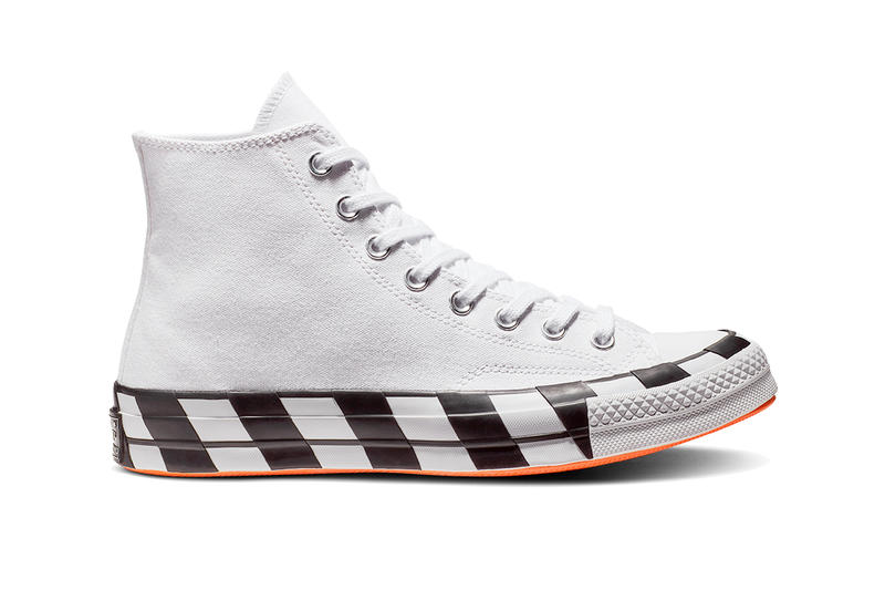 OFF-WHITE x Converse Chuck 70s 70 StockX Sneakers Shoes Trainers Kicks Footwear Cop Purchase Buy Release Date Details Virgil Abloh classic canvas vulcanized rubber industrial stamp white back text strip