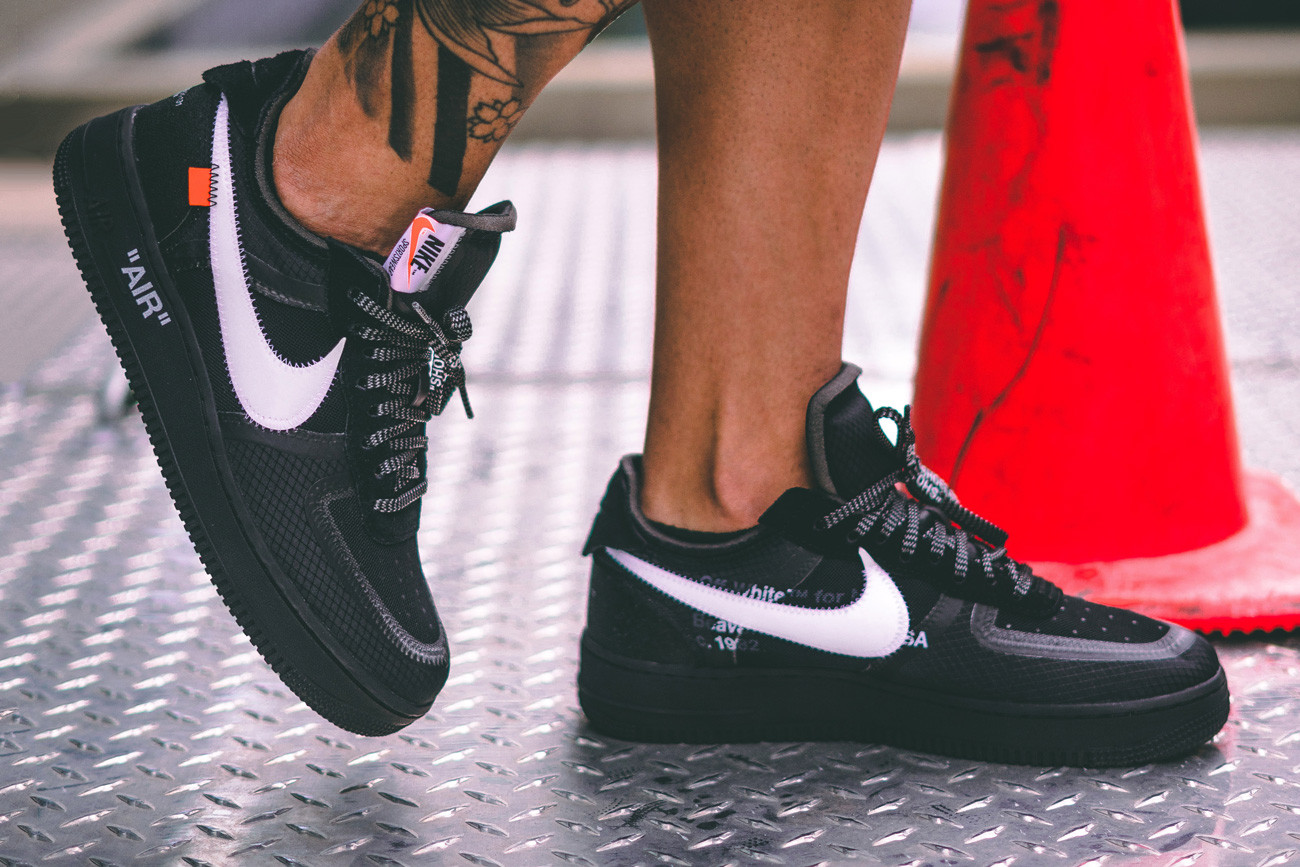 Off,White™ x Nike Black Cone Air Force 1 On,Foot