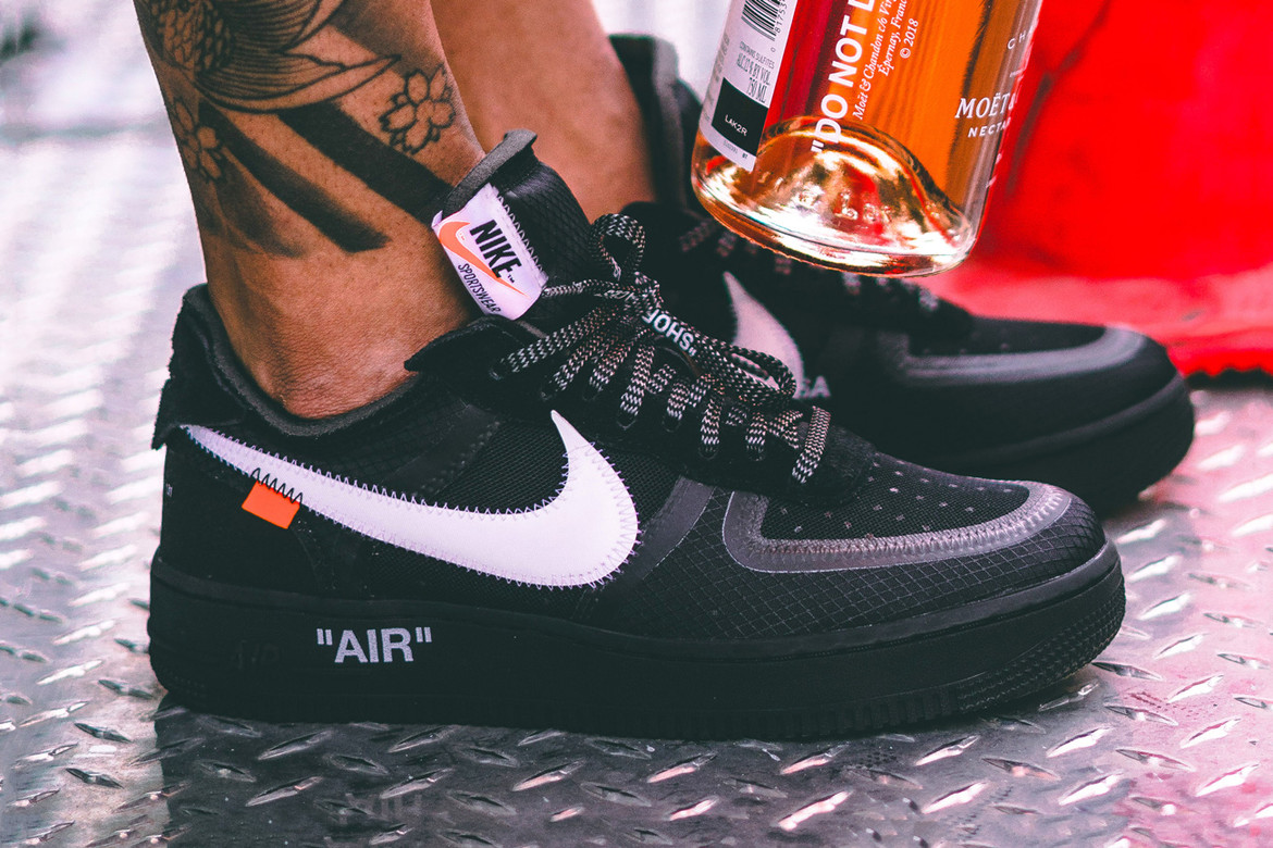 Off White X Nike Black Cone Air Force 1 On Foot Hypebeast