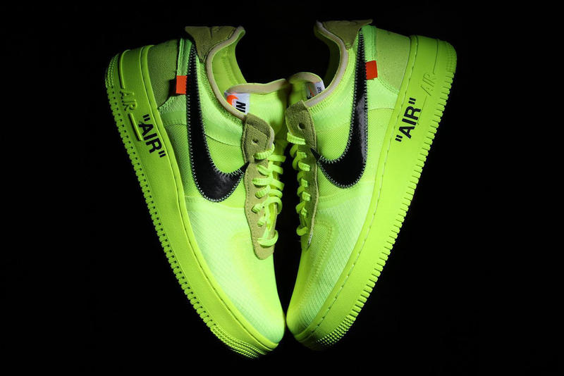 "Off-White™ Nike Air Force 1 ""Volt"" Colorway hyper jade black virgil abloh first look drop release date on foot"