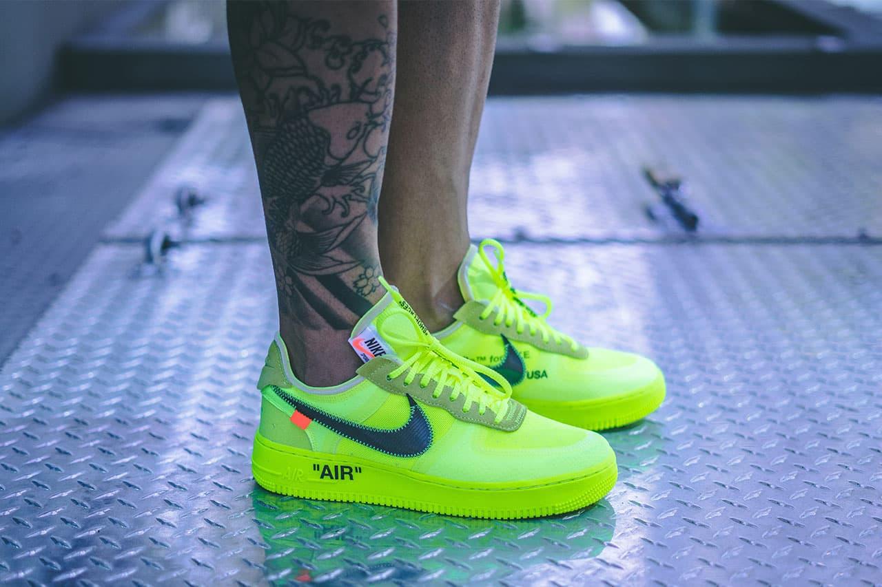 off white nike air force 1 volt on foot 2018 footwear virgil abloh