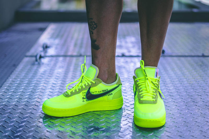 off white nike air force 1 volt on foot 2018 footwear virgil abloh