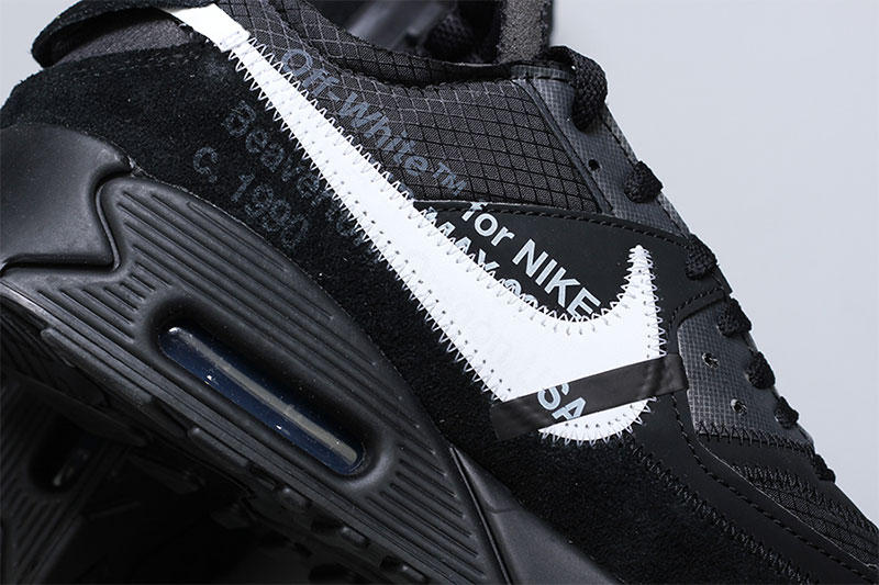 off white nike air max 90 close look black black cone white footwear nike sportswear