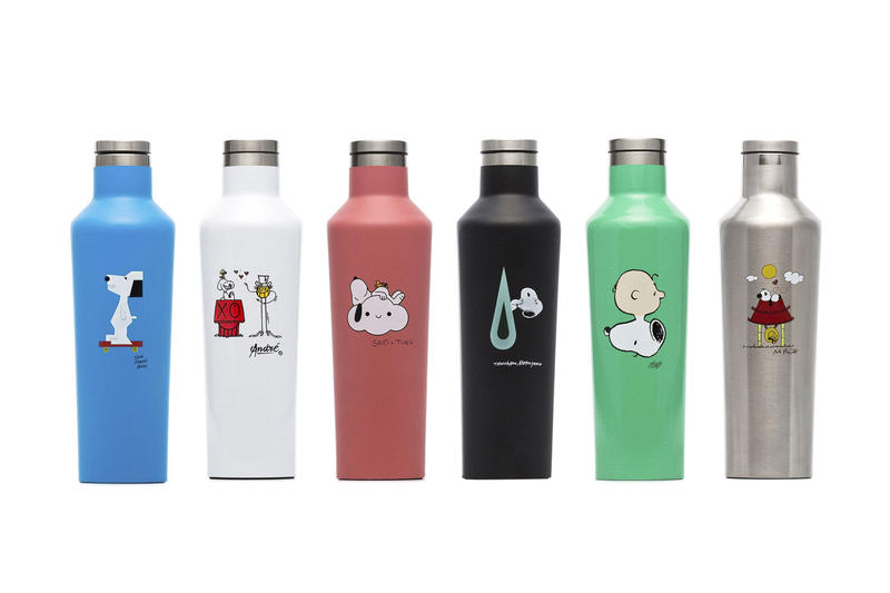 'Peanuts' x Browns Collection Huf Pintrill charlie brown snoopy corkcicle tote bag skateboard deck denik notepad André Saraiva x Mr. A, Nina Chanel Abney, Tomokazu Matsuyama, Kenny Scharf FriendsWithYou
