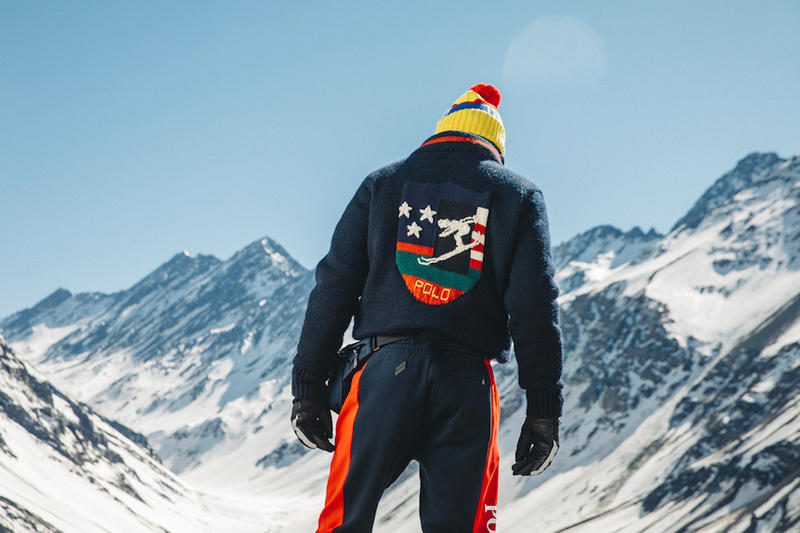 Polo Ralph Lauren Downhill Skier Lookbook collection outerwear jackets knit sweaters pants beanies bags