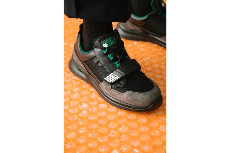 Prada Mechano FW18 Lookbook sneaker cloud bust sneaker luxury high fashion italy orange green blue colorways