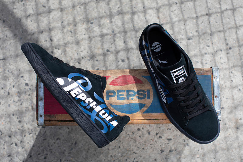 PUMA Suede 50th Anniversary Collaboration Pepsi Cola Blue Black Vintage Inspired Sneaker footwear trainers