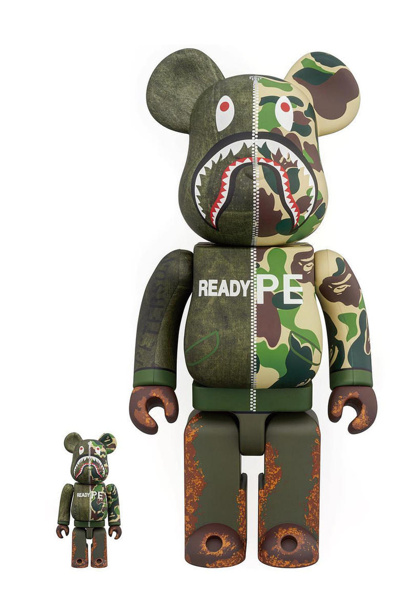 readymade bape medicom toy bearbrick yuta hosokawa october 20 patchwork vintage remade figure 1000 100 400 drop release date info collaboration exclusive shark