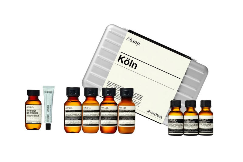 RIMOWA x Aesop Köln Travel Kit release date price purchase grooming Aesop Classic Shampoo Conditioner, Geranium Leaf Body Balm, Parsley Seed Anti-Oxidant Serum, Mouthwash toothpaste luggage box silver price
