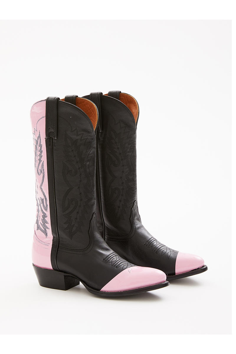 Sarah Morris Helmut Lang Painted Cowboy Boots collaboration footwear spring 1994 summer collection runway heritage archive footwear shoe pink orange color dipped stamped