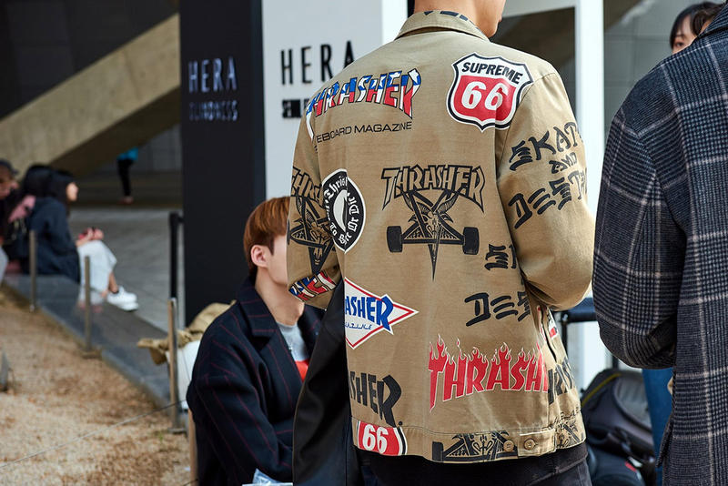 "Seoul Fashion Week Spring/Summer 2019 Street-Style Part 1 Prada Raf Simons Joy Division Custom Denim Alyx Accessories Balenciaga A-COLD-WALL* ACW Undercover Chanel Thrasher Supreme Off-White x Nike ""Spooky Pack"" Blazer"