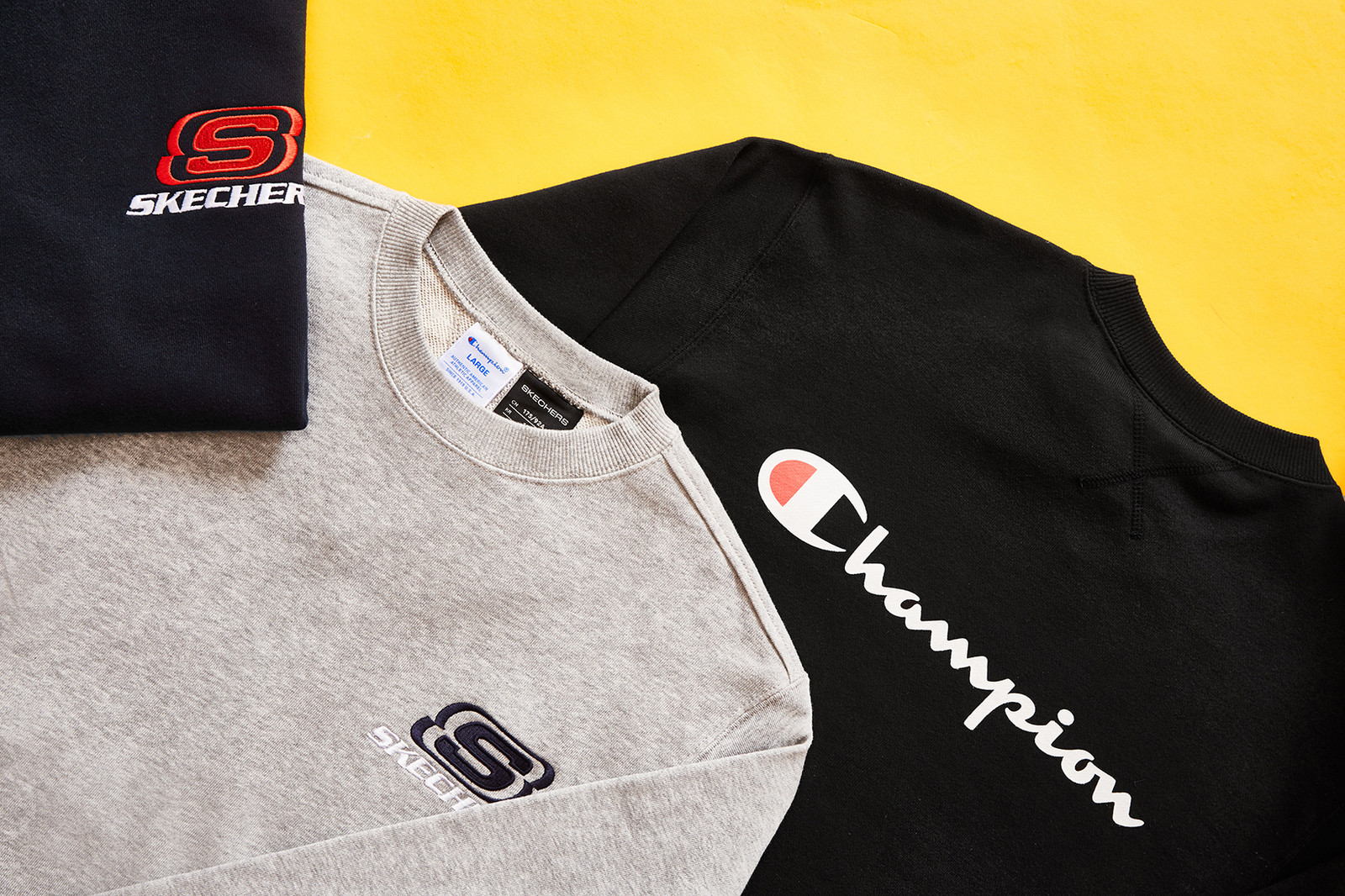 Skechers x Champion Clothing Collaboration 2018 Leisurewear Sportswear Street Style Chunky Sneakers 90s