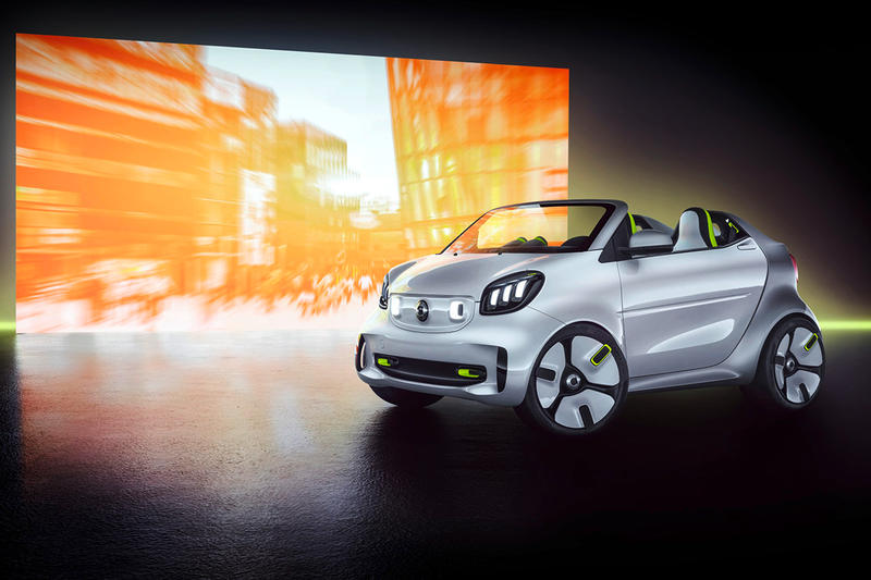 Smart Car Forease Concept Car electric car Mercedes Benz metallic white silver steam green