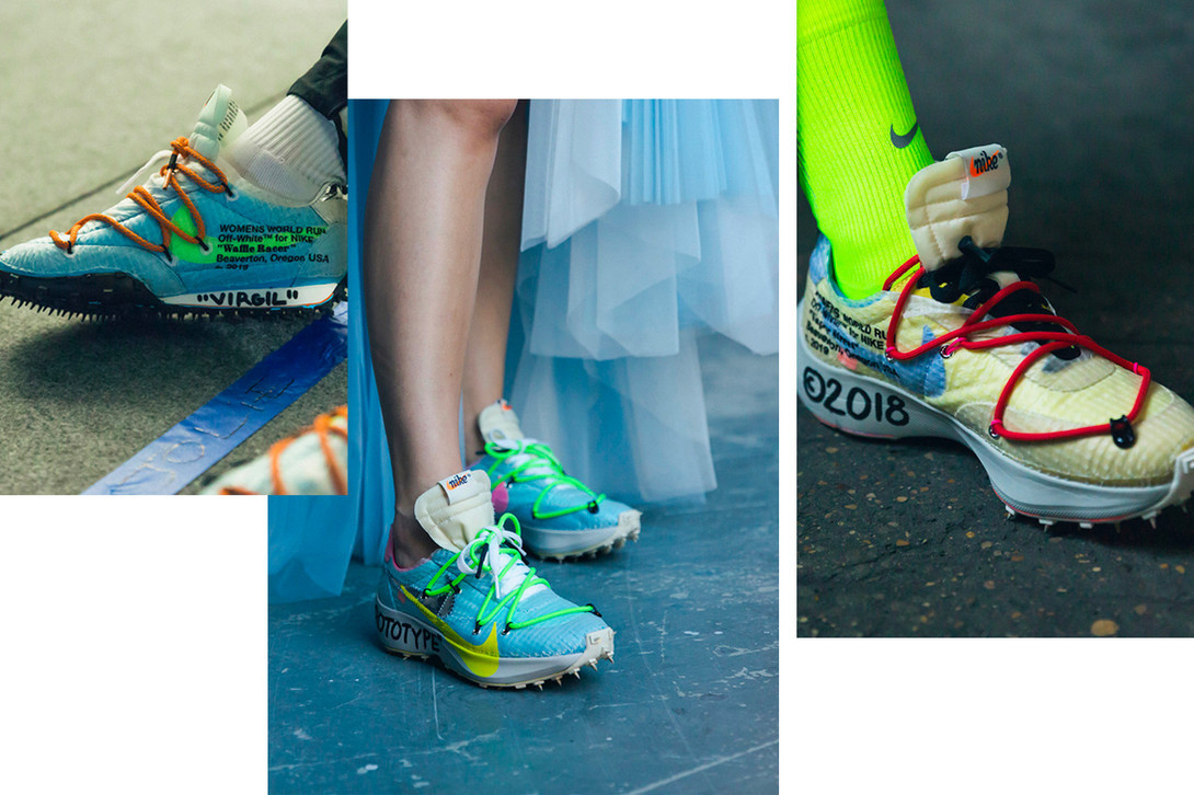 spring summer 2019 fashion week best sneakers shoe footwear womens mens collaboration comme des garcons john elliott matthew adams dolan runway undercover nike reebok waffle sole racer off white react vapor flyknit shox blazer mid rebel