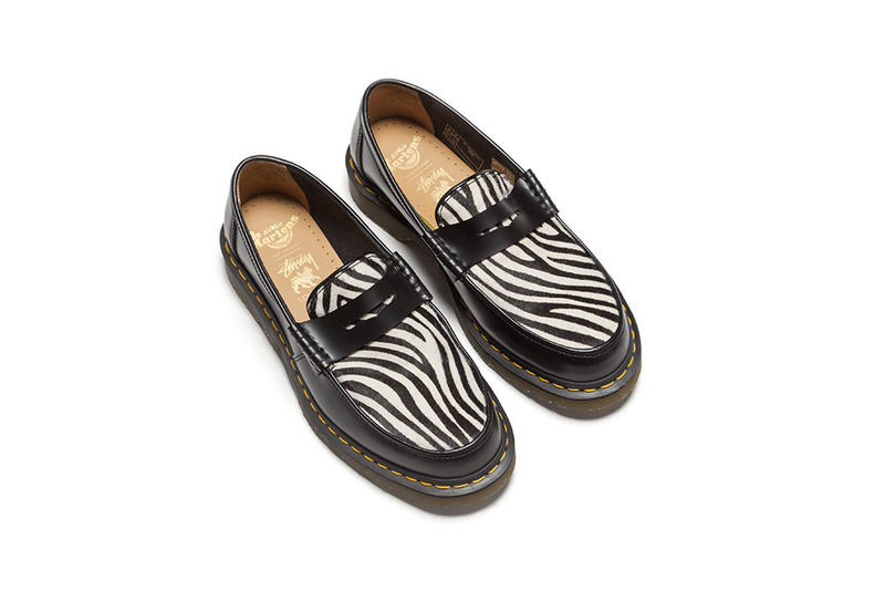 Stüssy london store dr martens penton loafer exclusive zebra print colorway design shoe collaboration drop release date info october 19 2018