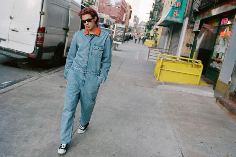 supreme levis fall winter 2018 collaboration reversible quilted trucker jacket denim coveralls blue orange on body lookbook jumpsuit arc logo