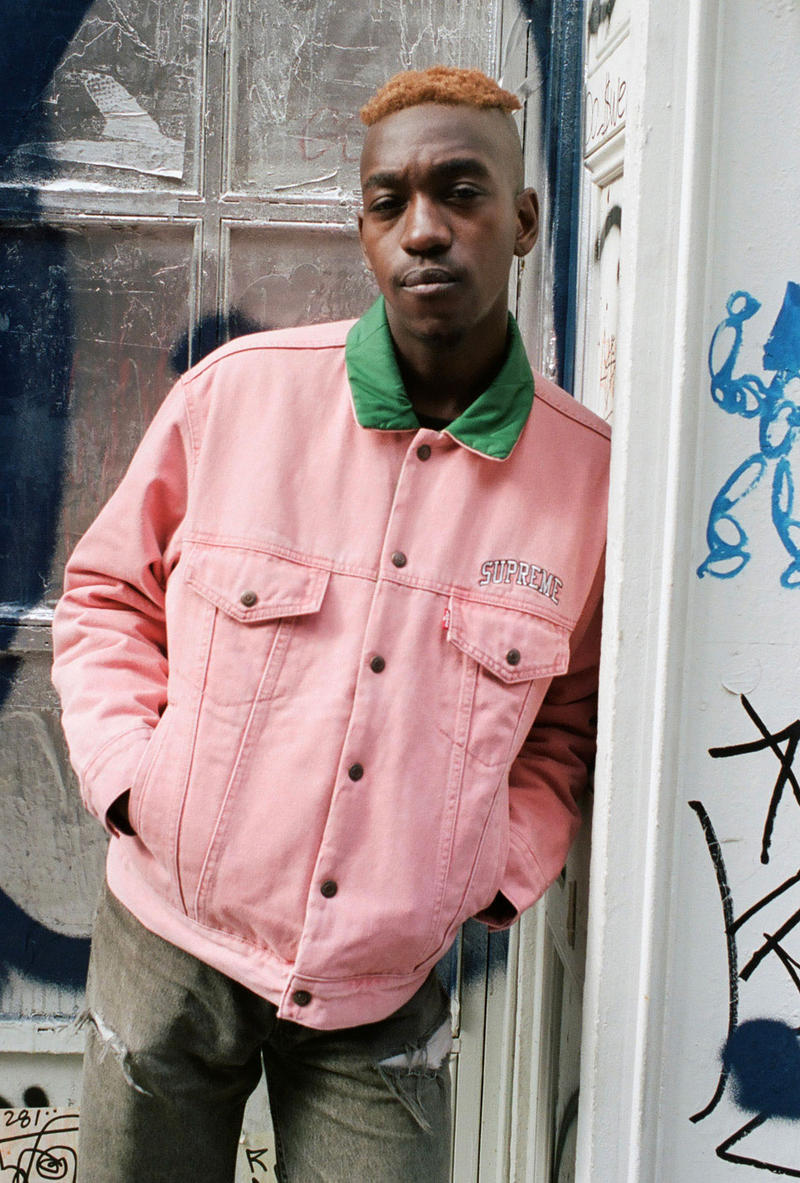 supreme levis fall winter 2018 collaboration reversible quilted trucker jacket denim coveralls pink green on body lookbook arc logo