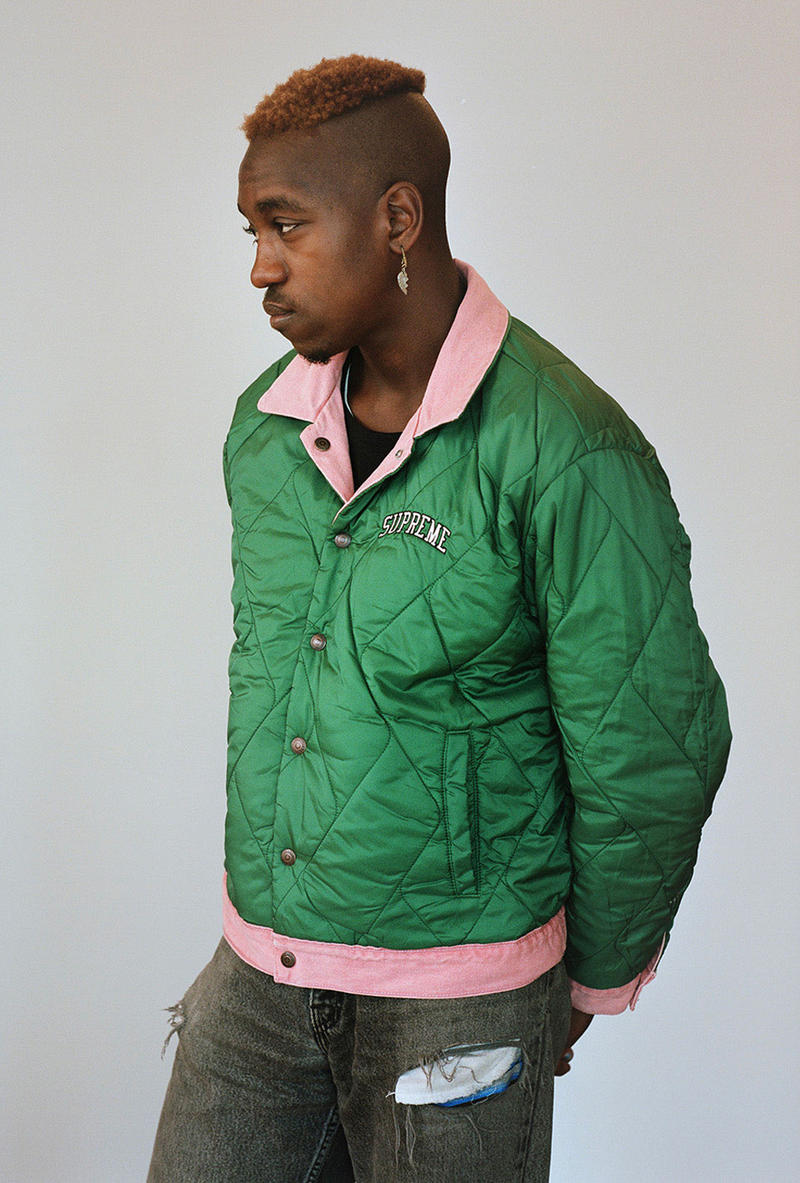 supreme levis fall winter 2018 collaboration reversible quilted trucker jacket denim coveralls green pink lookbook on body arc logo