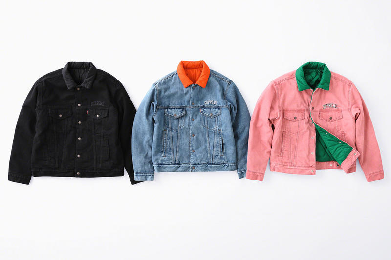 supreme levis fall winter 2018 collection collaboration exclusive Quilted Reversible Trucker Jacket denim coveralls stonewashed november 1 3 2018 release date info drop colorways orange blue black logo green pink lining