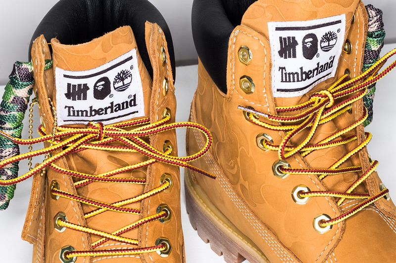 bape undefeated timberland 6 inch boot collaboration ape head camouflage laces wheat colorway drop release info exclusive store web site october 27 2018 launch