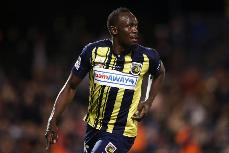 Usain Bolt Two Goals First Full Pro Soccer Match Central Coast Mariners Pre season unsigned Football