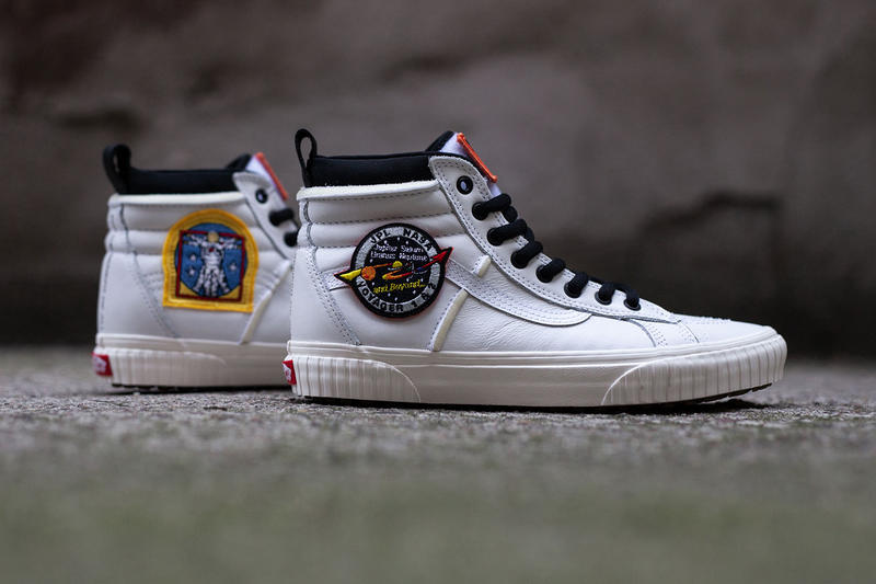 f06417219f Vans Nasa Space Voyager Capsule Full Look Old Skool SK8-Hi True White  Firecracker orange