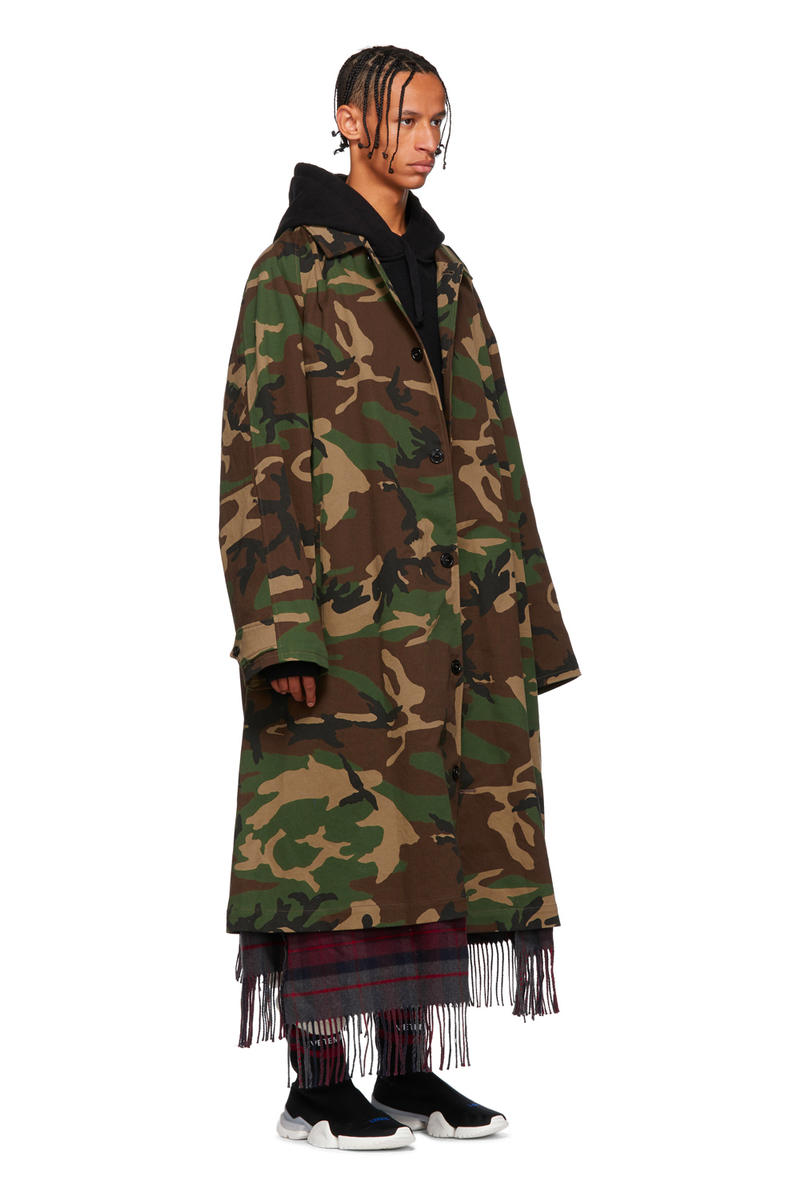 Vetements Fall Winter 2018 Camo Scarf Trench Coat plaid release info jackets military