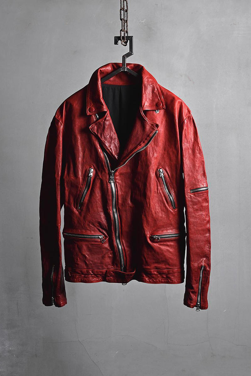 isamu katayama backlash yohji yamamoto pour homme fall winter 2018 collection leather jacket collab red blue black rider