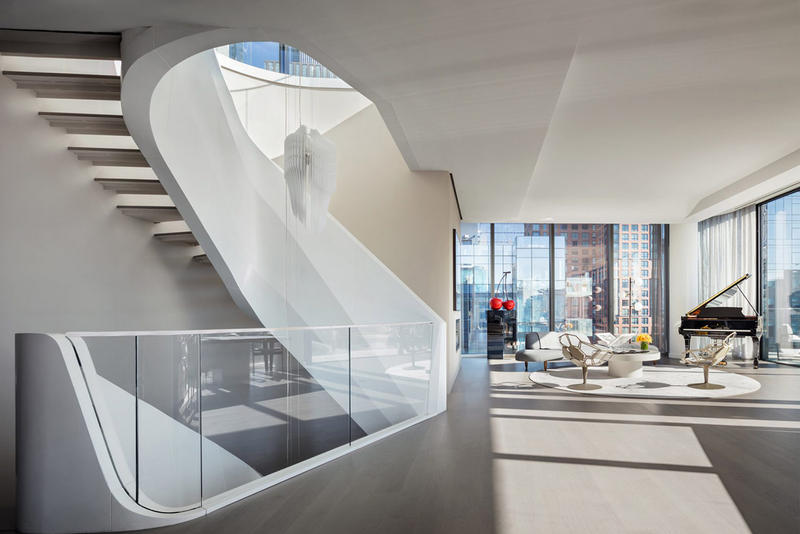 $50 Million Penthouse in New York City by Zaha Hadid Architects Architecture Flats Homes Apartments Modern Interior Exterior Rooftop Balcony 520 West 28th Street Chelsea