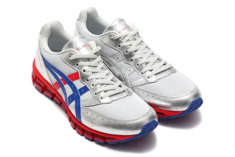 atmos x ASICS GEL-Inst.360 Silver Shoe Details Sneakers Trainers Kicks Shoes Footwear Cop Purchase Buy Metallic Marine Blue University Red