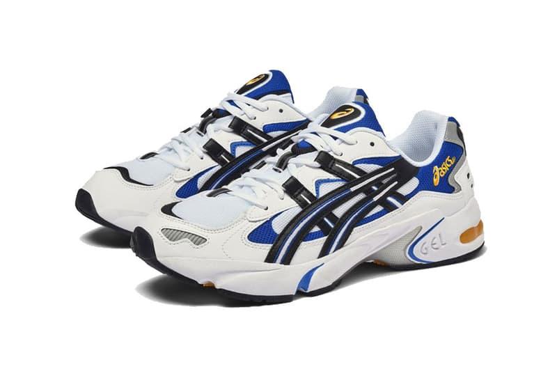 asics gel kayano 5 og release date white black blue yellow 2018 noevmber footwear