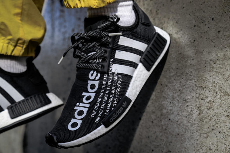 atmos adidas nmd r1 black white collab collaboration new sneakers november 17 2018 fall winter images pictures on feet release date info details