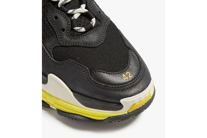 Balenciaga Triple S Low Top Trainers trainer First Look yellow mesh leather black white off