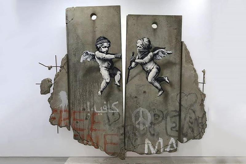 banksy repiica separation barrier world travel fair london artworks sculptures installations artist
