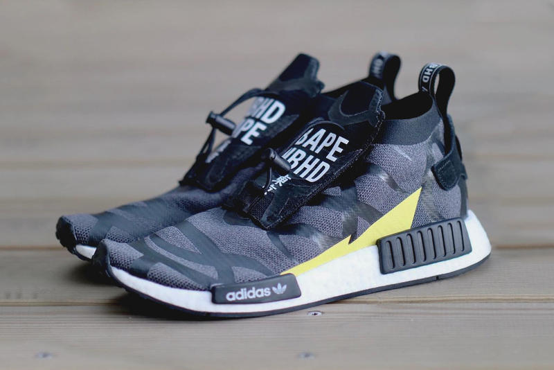 BAPE NEIGHBORHOOD adidas NMD TS1 First Look Black Grey Volt