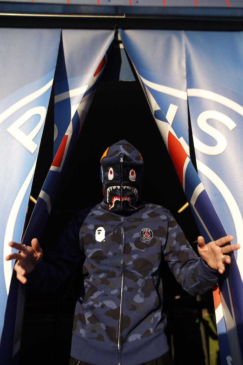 BAPE x PSG 2018 Collab Full Look Closer Look Lookbook Collaborative Collaboration Brand Streetwear Football Soccer Team Paris Saint-Germain F.C. A Bathing Ape