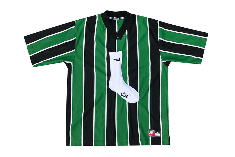 cactus plant flea market vintage nike clothing sock dover street market los angeles collection cpfm white swoosh polo soccer jersey shirt tee rugby stripe green black white football