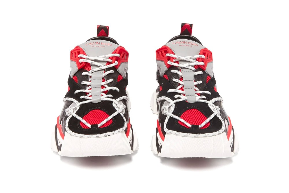 Calvin Klein 205W39NYC STRIKE 205 CALF LEATHER red black sneakers shoes november 2018 buy price details info information mesh colorway drop release date info buy chunky clunky runner