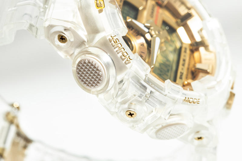 "Casio G-SHOCK GA-735E ""Glacier Gold"" Restock drop release date info buy clear transparent watch timepiece translucent anniversary november 28 2018 hbx 35 anniversary"
