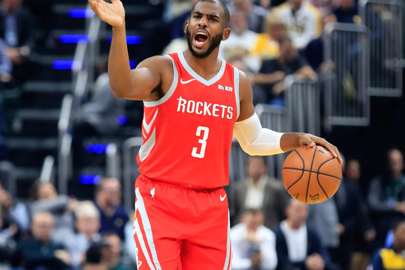 Chris Paul Faking out Ref Technical Houston Rockets NBA basketball Oklahoma City Thunder Mark Ayotte Referee