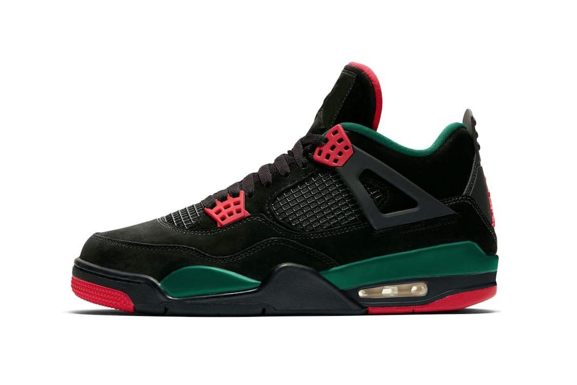 black and red jordan 4