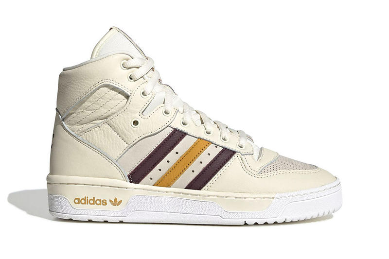 "eric emanuel x adidas Rivalry Hi ""Crystal White/Bold Gold"" Release Date info price colorway sneaker december 2018 Color: Crystal White/Night Red/Real Pink/Bold Gold Style Code: G25836"