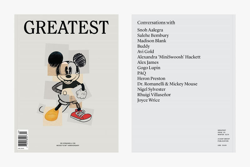 goat greatest magazine issue 2 2018 november fall winter second dr romanelli mickey mouse snoh aalegra interview interviews heron preston nigel sylvester paq salehe bembury