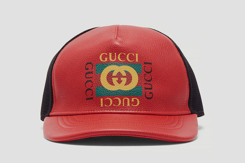 Gucci Logo Print Leather Trucker Hat
