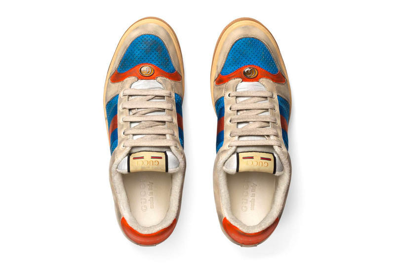 007bb05575b Gucci Mens Distressed GG Canvas Sneakers leather price Red Green Monogram  Blue Orange Info Release Date
