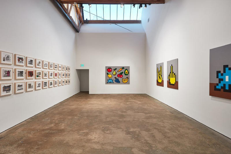 invader over the influence gallery exhibition into the white cube paintings mosaics murals tile works