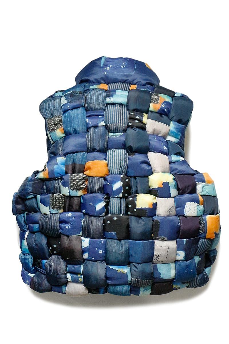 Kapital 180 the store vest november 30 2018 release drop info buy RipStop Nylon Down Burger-Keel Vest BORO Print compressed wool scarf